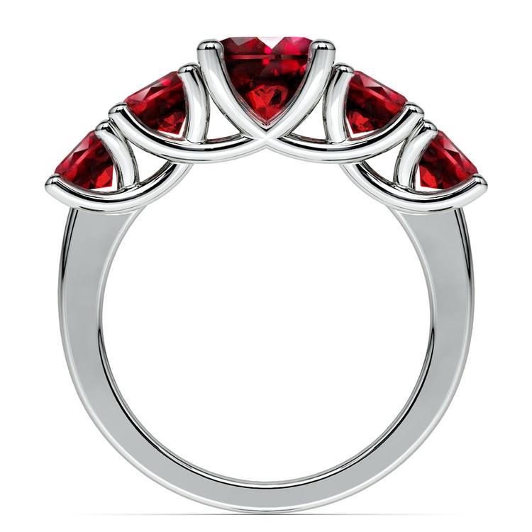 Trellis Five Ruby Gemstone Ring in Platinum | 03