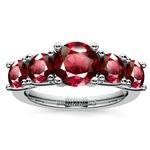 Trellis Five Ruby Gemstone Ring in White Gold | Thumbnail 02