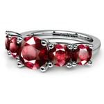 Trellis Five Ruby Gemstone Ring in White Gold | Thumbnail 05