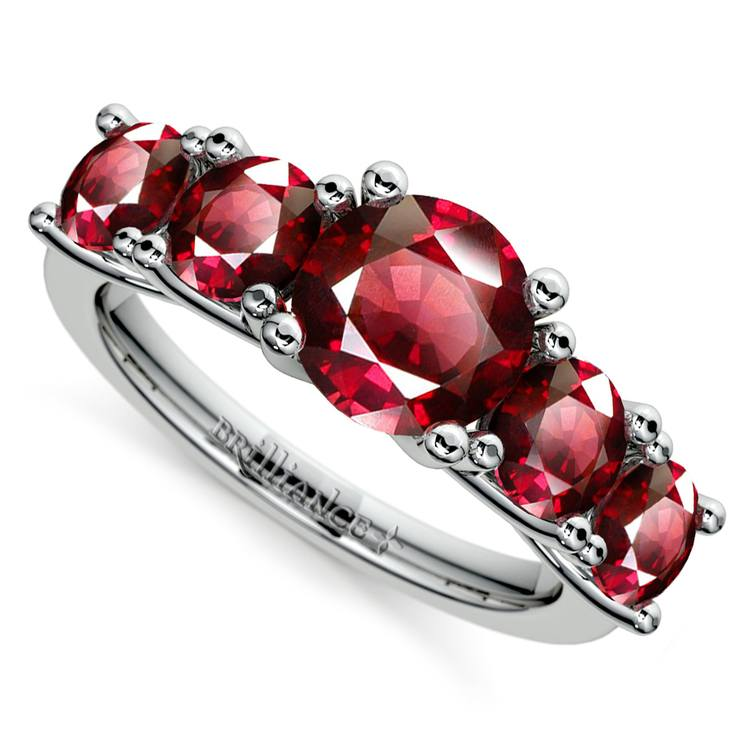 Trellis Five Ruby Gemstone Ring in White Gold | 01