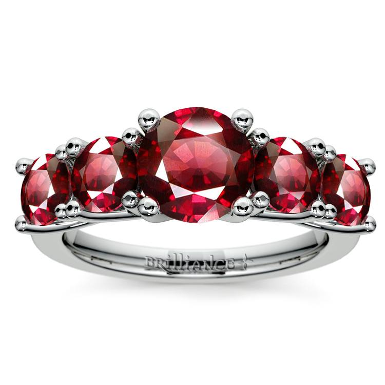 Trellis Five Ruby Gemstone Ring in White Gold | 02