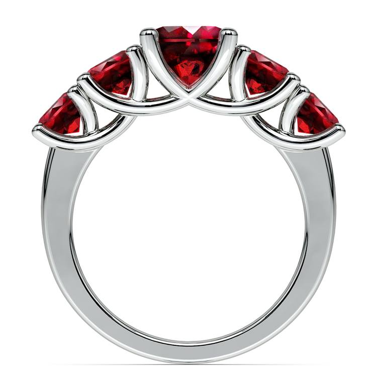 Trellis Five Ruby Gemstone Ring in White Gold | 03