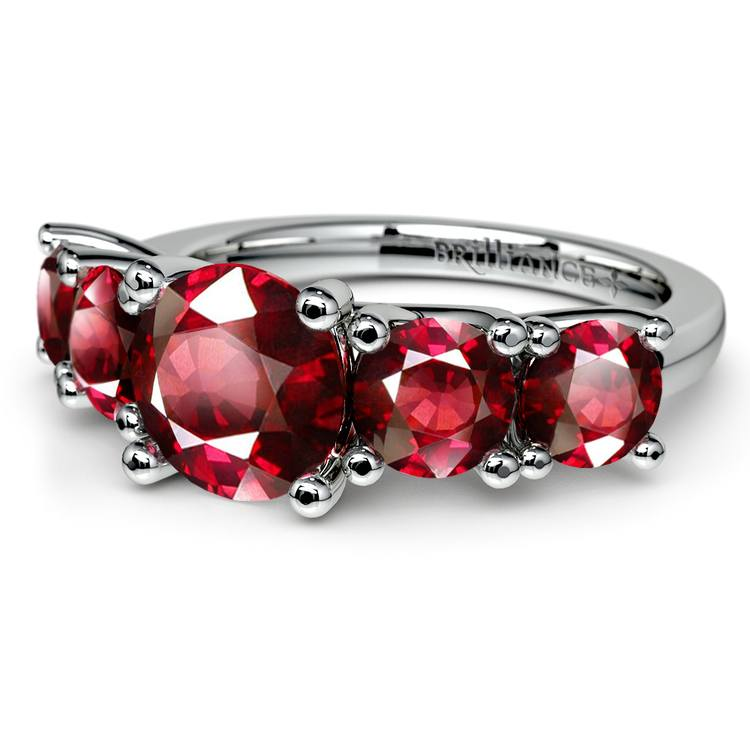 Trellis Five Ruby Gemstone Ring in White Gold | 05