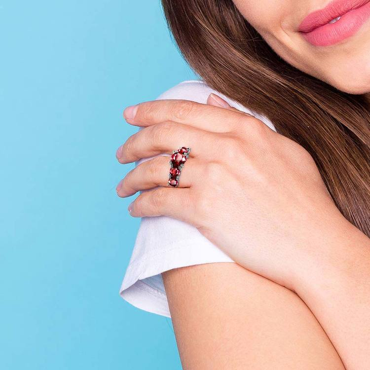 Trellis Five Ruby Gemstone Ring in White Gold | 07