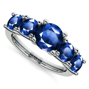 Trellis Five Sapphire Gemstone Ring in White Gold