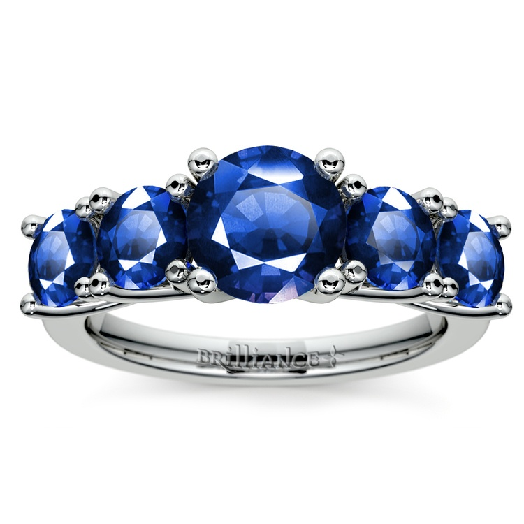 Trellis Five Sapphire Gemstone Ring in White Gold | 02