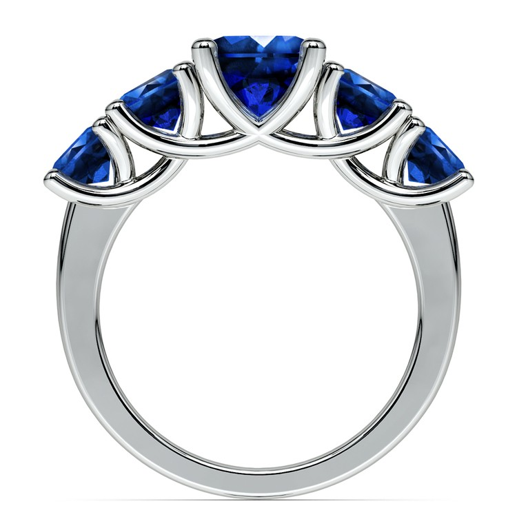 Trellis Five Sapphire Gemstone Ring in White Gold | 03