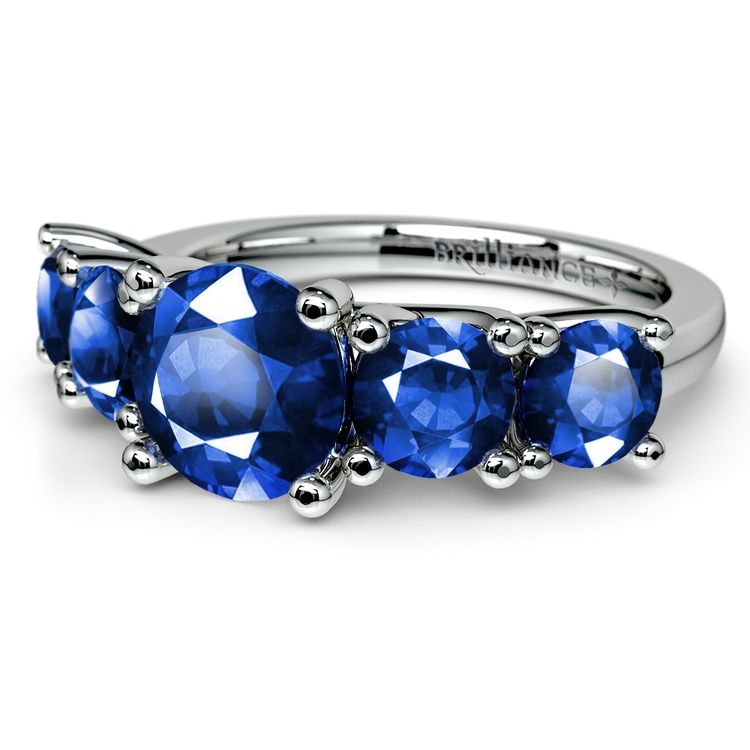 Trellis Five Sapphire Gemstone Ring in White Gold | 05