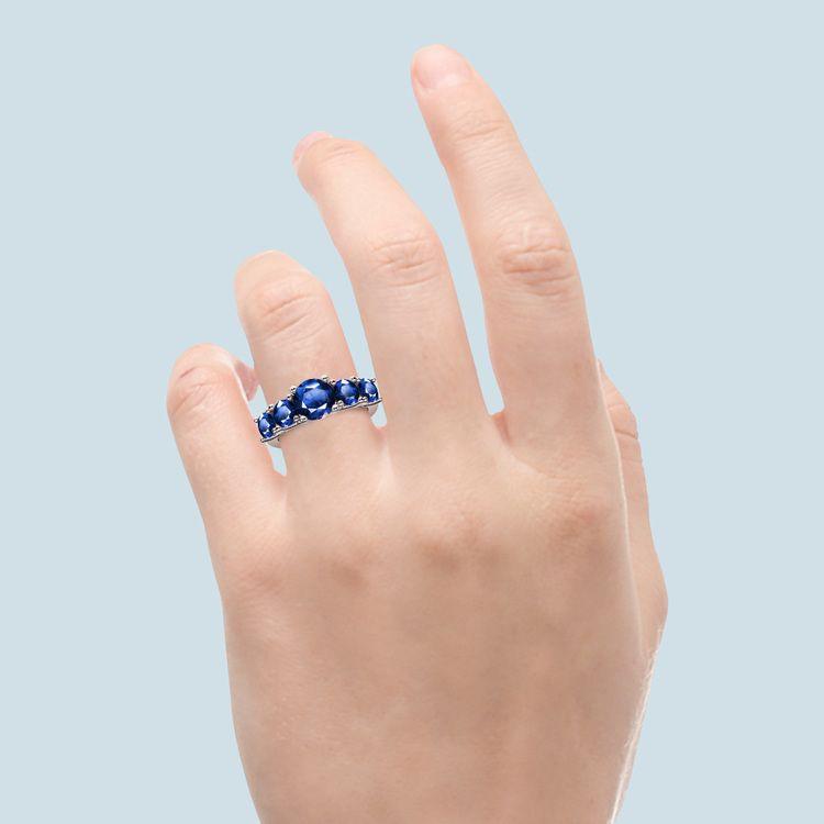 Trellis Five Sapphire Gemstone Ring in White Gold | 06