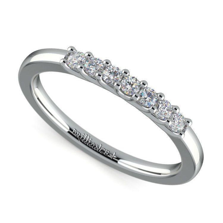 Trellis Seven Diamond Wedding Ring in White Gold | 01