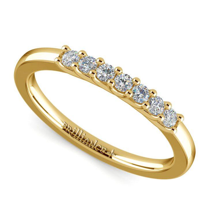 Trellis Seven Diamond Wedding Ring in Yellow Gold   01