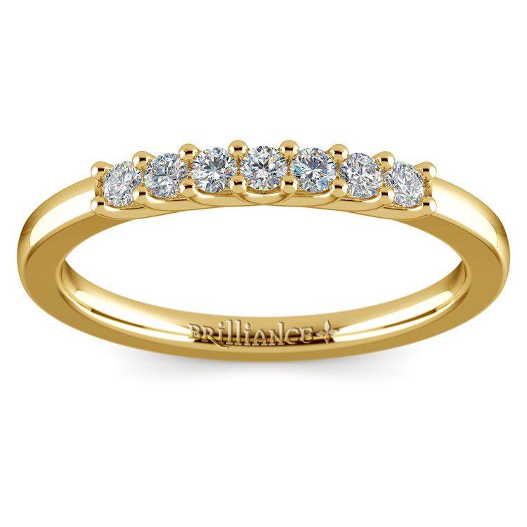 Trellis Seven Diamond Wedding Ring in Yellow Gold   02