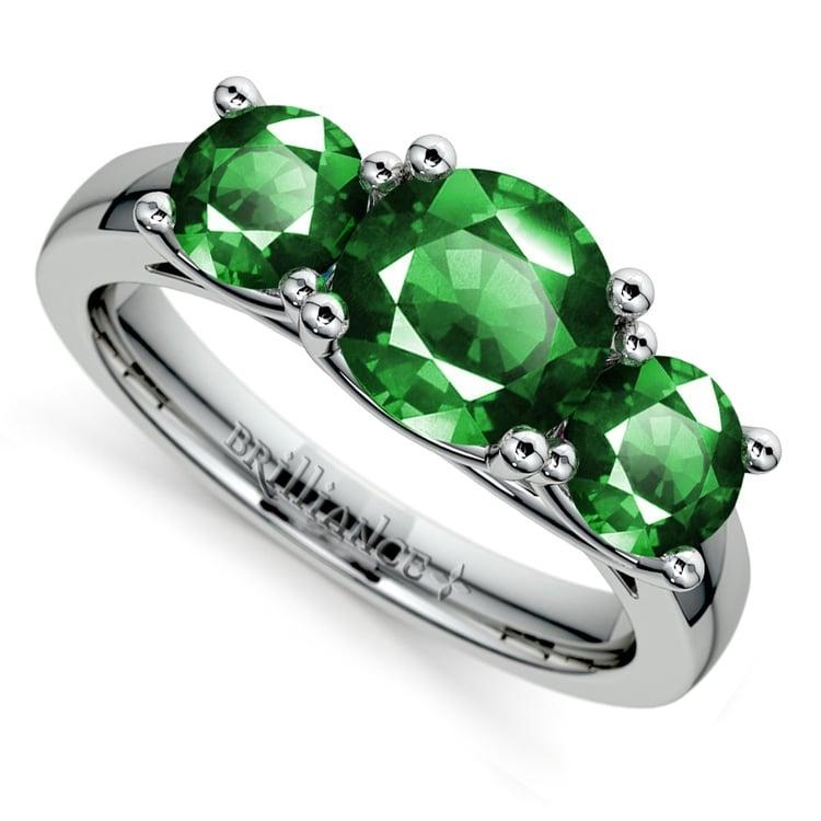 Trellis Three Emerald Gemstone Ring in White Gold | 01