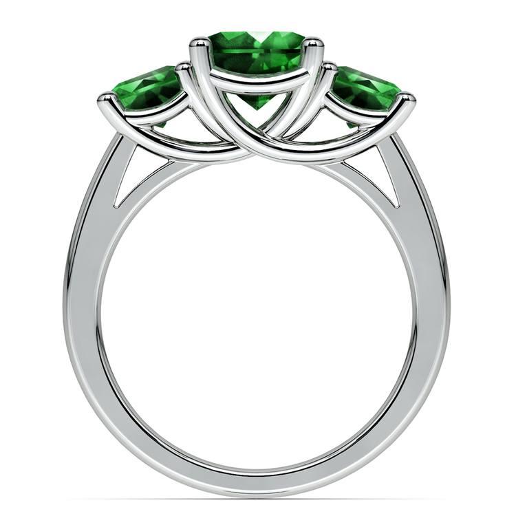 Trellis Three Emerald Gemstone Ring in White Gold | 03