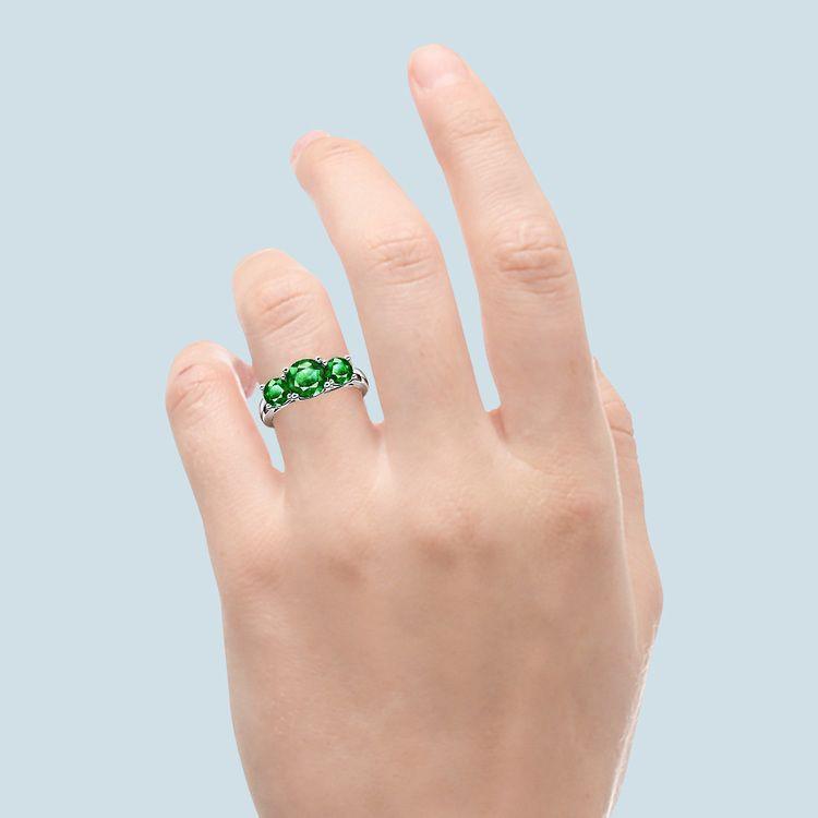 Trellis Three Emerald Gemstone Ring in White Gold   06