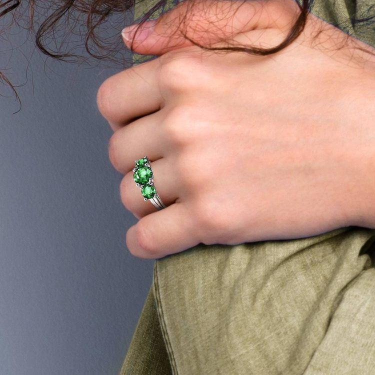 Trellis Three Emerald Gemstone Ring in White Gold   07