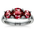 Trellis Three Ruby Gemstone Ring in Platinum | Thumbnail 02