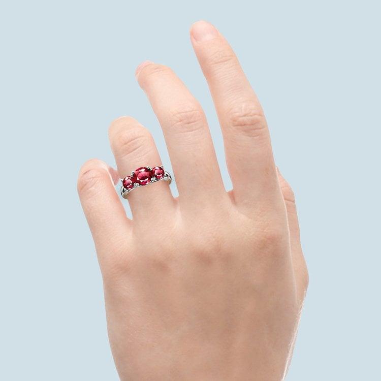 Trellis Three Ruby Gemstone Ring in Platinum | 06