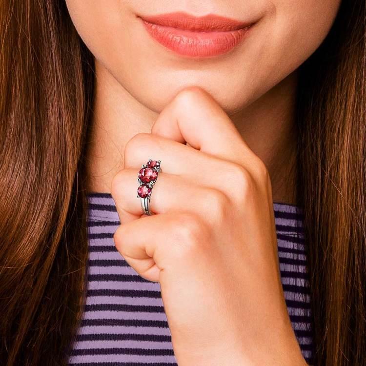 Trellis Three Ruby Gemstone Ring in Platinum | 07