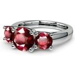 Trellis Three Ruby Gemstone Ring in White Gold (1 ctw) | Thumbnail 05