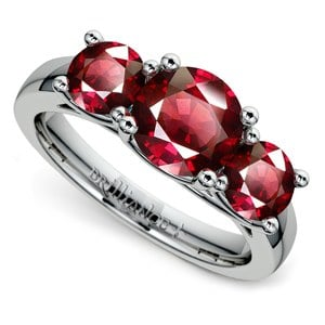 Trellis Three Ruby Gemstone Ring in White Gold (1 ctw)