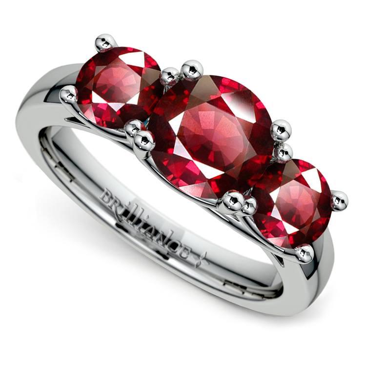 Trellis Three Ruby Gemstone Ring in White Gold (1 ctw) | 01