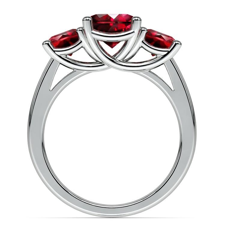 Trellis Three Ruby Gemstone Ring in White Gold (1 ctw) | 03