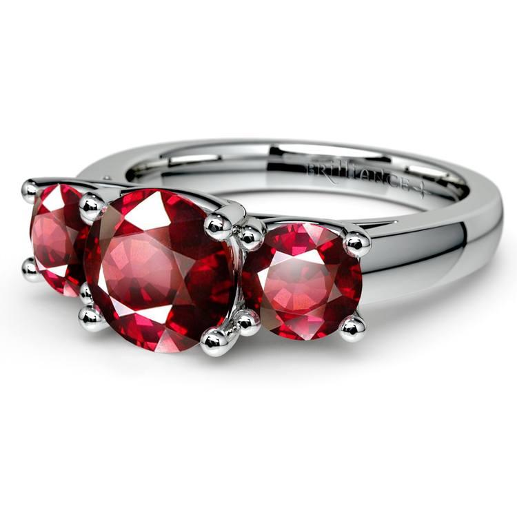 Trellis Three Ruby Gemstone Ring in White Gold (1 ctw) | 05