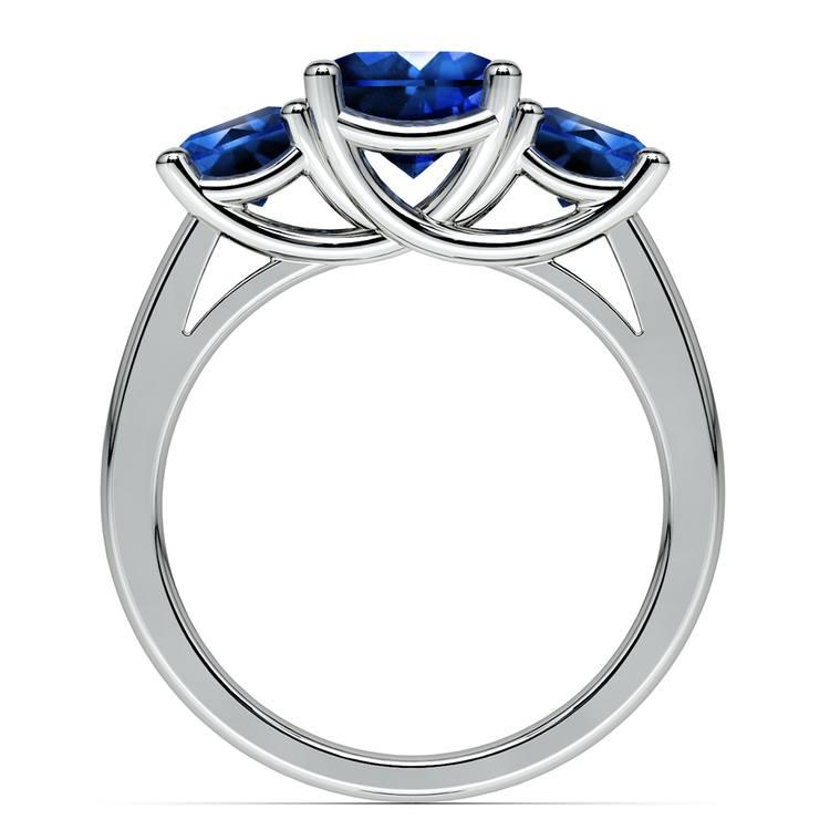 Trellis Three Sapphire Gemstone Ring in White Gold | 03