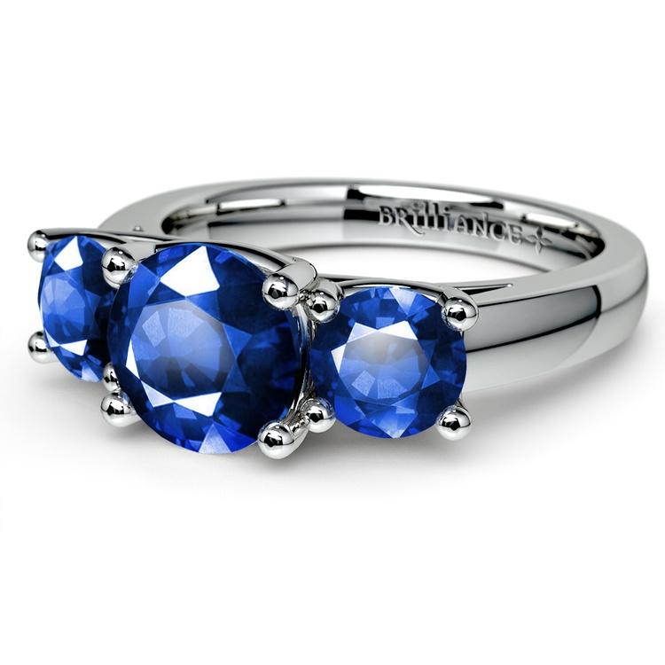 Trellis Three Sapphire Gemstone Ring in White Gold | 05