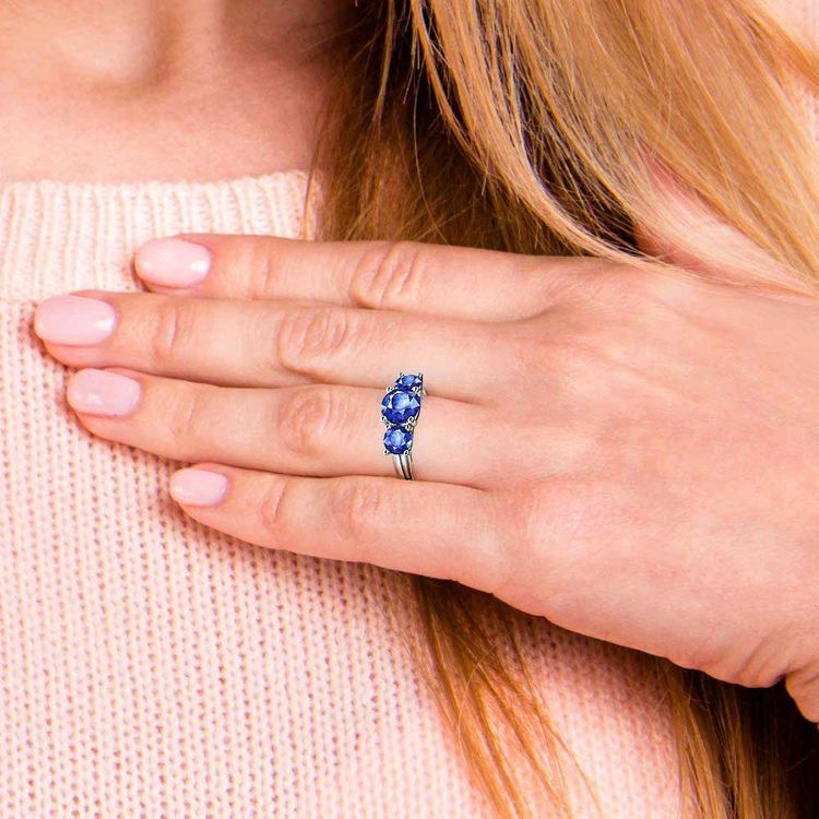 Trellis Three Sapphire Gemstone Ring in White Gold   07