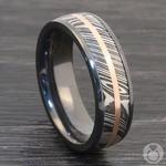 Tri-Metal Domed Inlay Men's Wedding Ring in Zirconium | Thumbnail 04