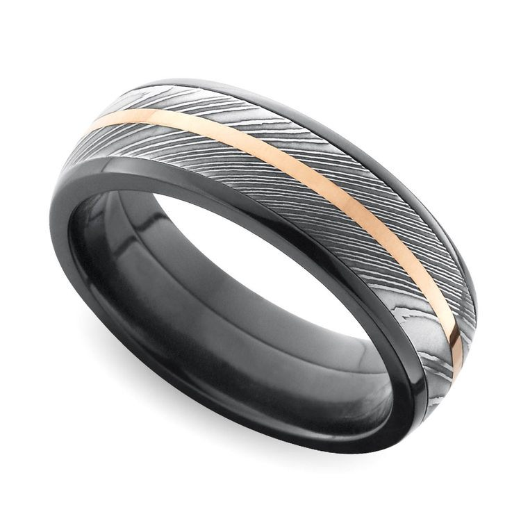 Tri-Metal Domed Inlay Men's Wedding Ring in Zirconium | 01