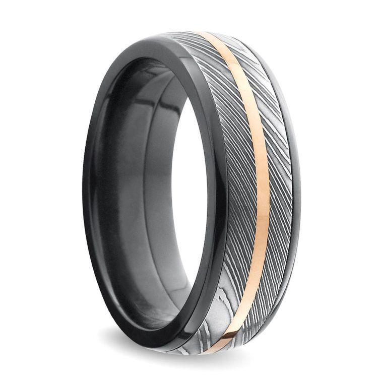 Tri-Metal Domed Inlay Men's Wedding Ring in Zirconium | 02