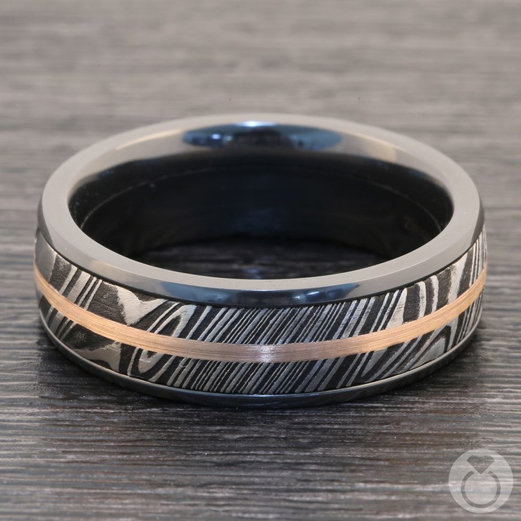 Tri-Metal Domed Inlay Men's Wedding Ring in Zirconium | 03