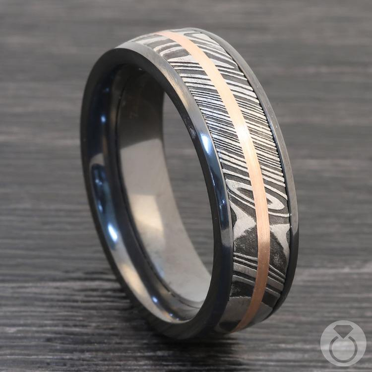 Tri-Metal Domed Inlay Men's Wedding Ring in Zirconium | 04