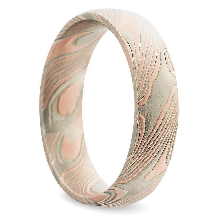 Tri-Tone Mokume Gane Comfort Fit Men's Wedding Ring | 02