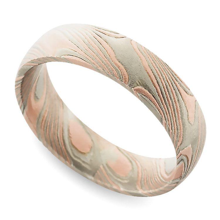 Tri-Tone Mokume Gane Comfort Fit Wedding Ring | 01