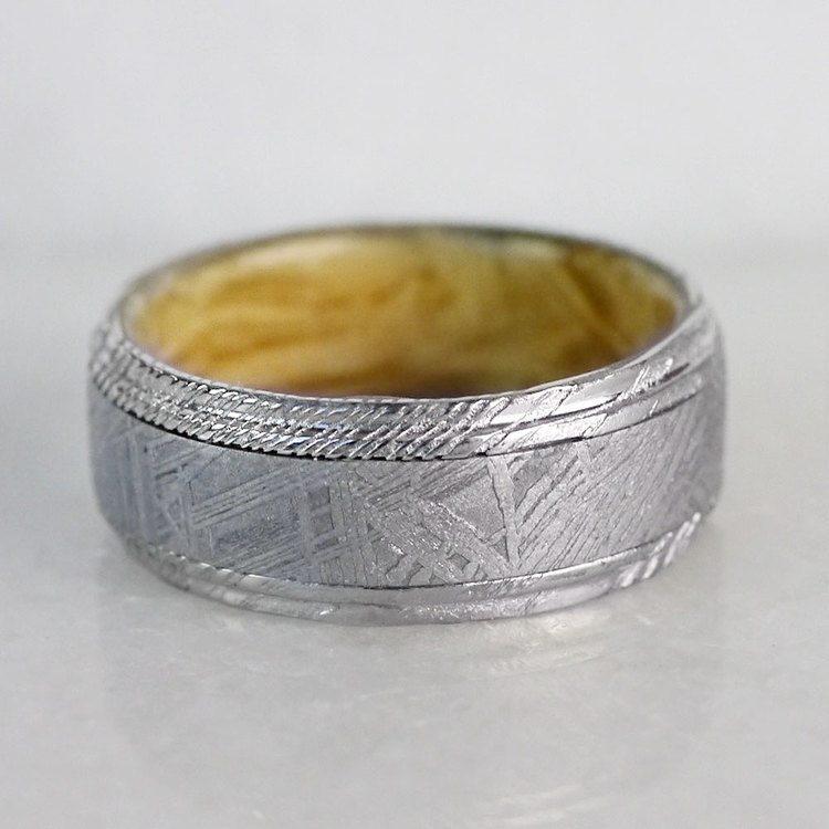 Triton - Damascus & Meteorite Mens Ring with Burl Wood Sleeve   05
