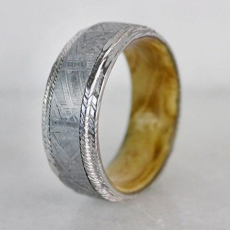 Triton - Damascus & Meteorite Mens Ring with Burl Wood Sleeve   04