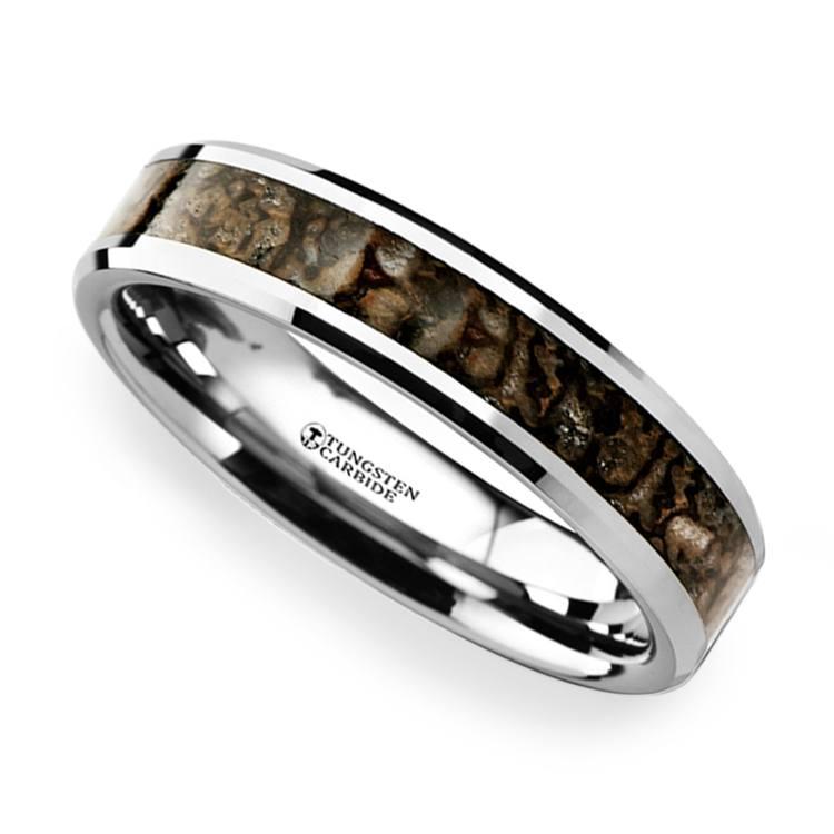 Tungsten Dinosaur Bone Inlay Wedding Ring (4mm) | 01