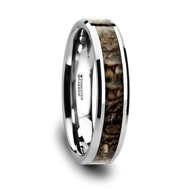 Tungsten Dinosaur Bone Inlay Wedding Ring (4mm) | 02