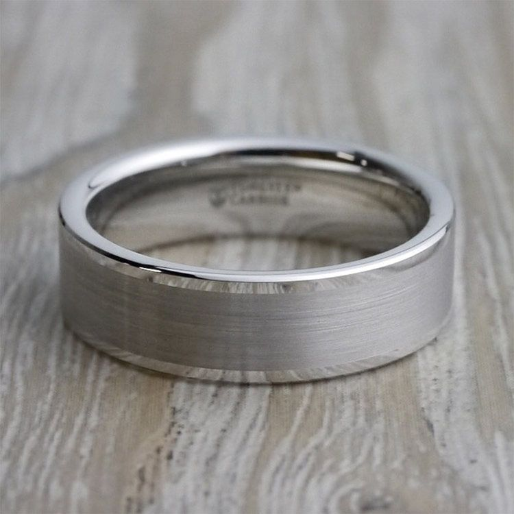 Pipe Cut Men's 6mm Brushed Tungsten Wedding Band | 05