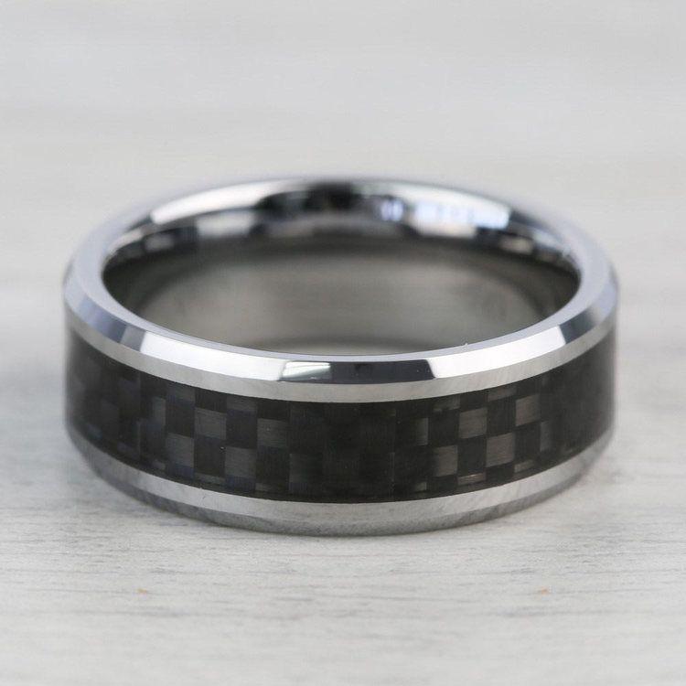 Tungsten Men's Wedding Ring with Black Carbon Fiber Inlay (8mm)   03