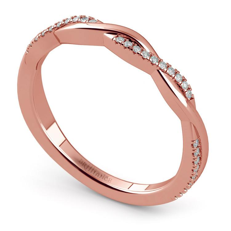 Rose Gold Twisted Diamond Wedding Band | 01