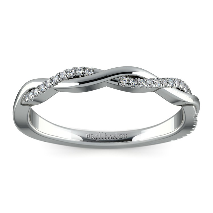 Twisted Diamond Wedding Band In White Gold | 02