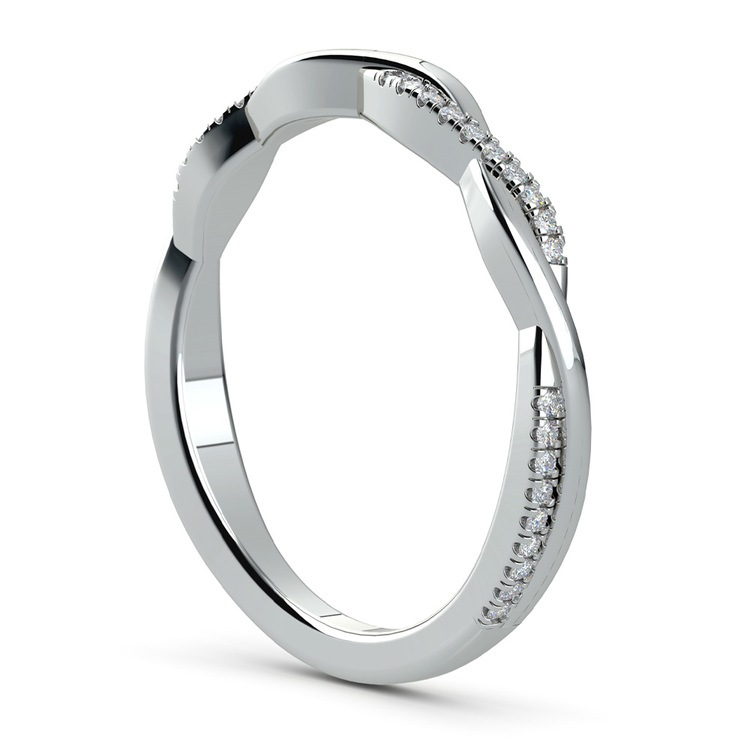 Twisted Diamond Wedding Band In White Gold | 04
