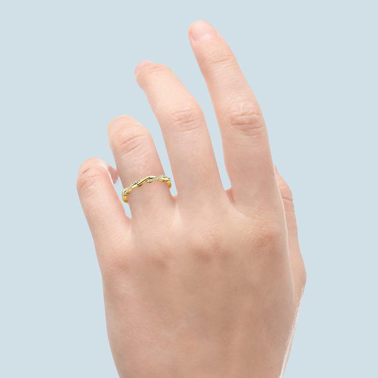 Twisted Diamond Wedding Band In Yellow Gold | 06