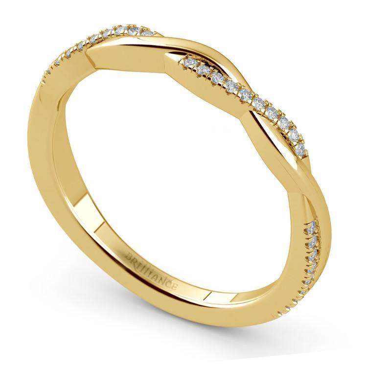 Twisted Diamond Wedding Band In Yellow Gold | 01