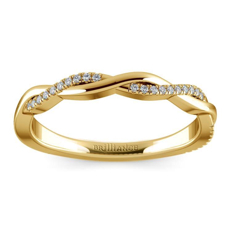 Twisted Diamond Wedding Band In Yellow Gold | 02
